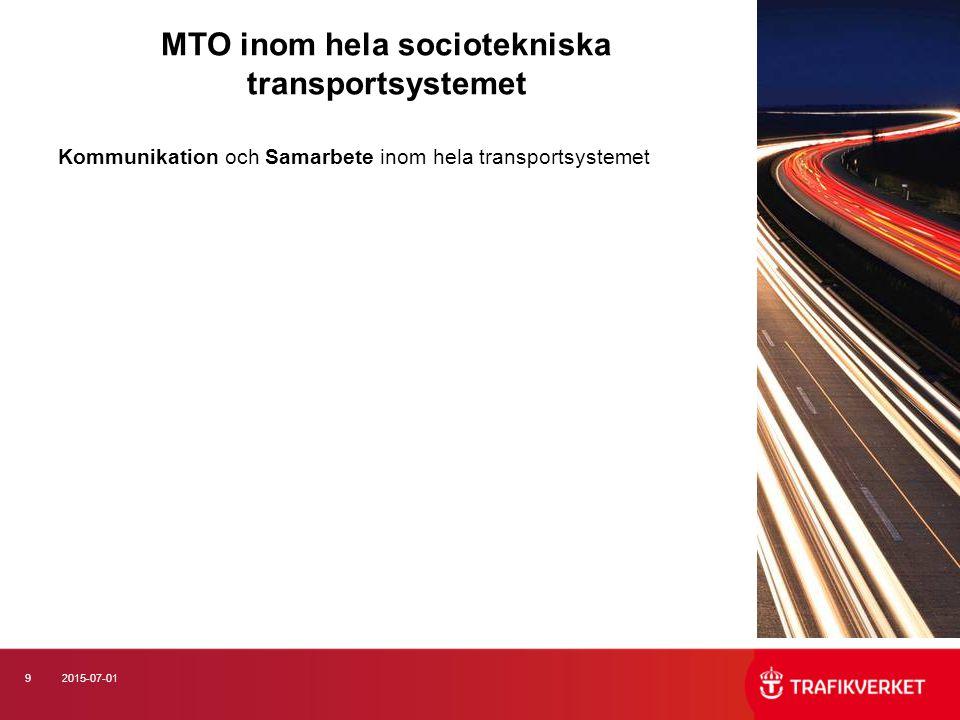 92015-07-01 MTO inom hela sociotekniska transportsystemet Kommunikation och Samarbete inom hela transportsystemet