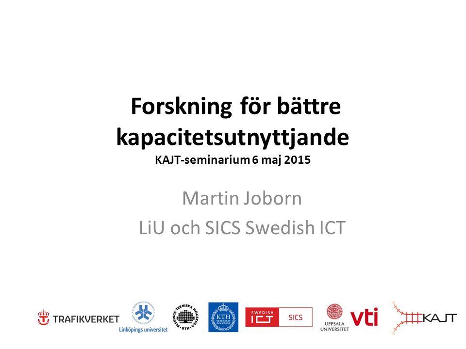 Forskning för bättre kapacitetsutnyttjande KAJT-seminarium 6 maj 2015 Martin Joborn LiU och SICS Swedish ICT