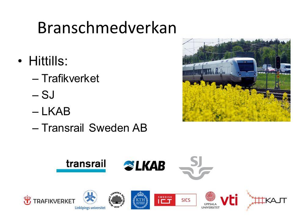 Branschmedverkan Hittills: –Trafikverket –SJ –LKAB –Transrail Sweden AB