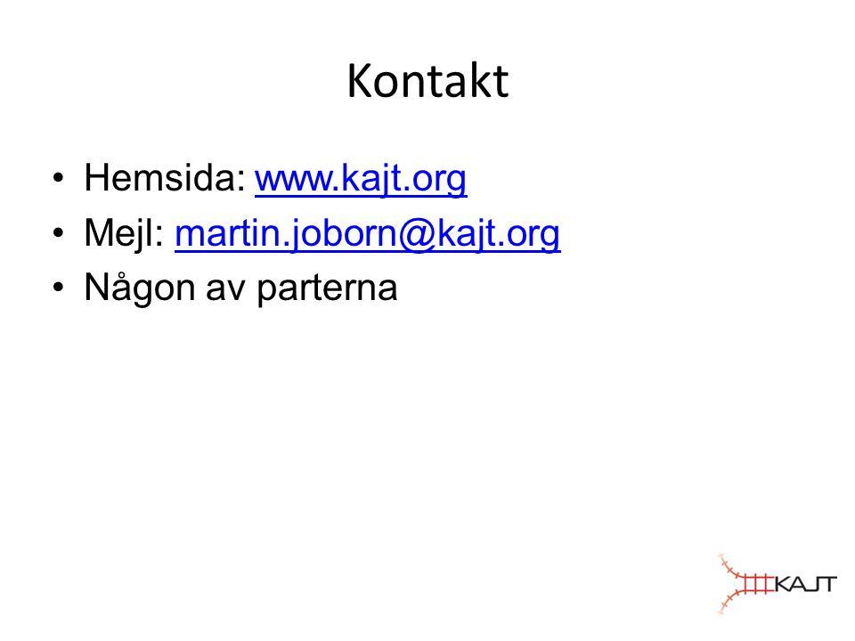 Kontakt Hemsida: www.kajt.orgwww.kajt.org Mejl: martin.joborn@kajt.orgmartin.joborn@kajt.org Någon av parterna