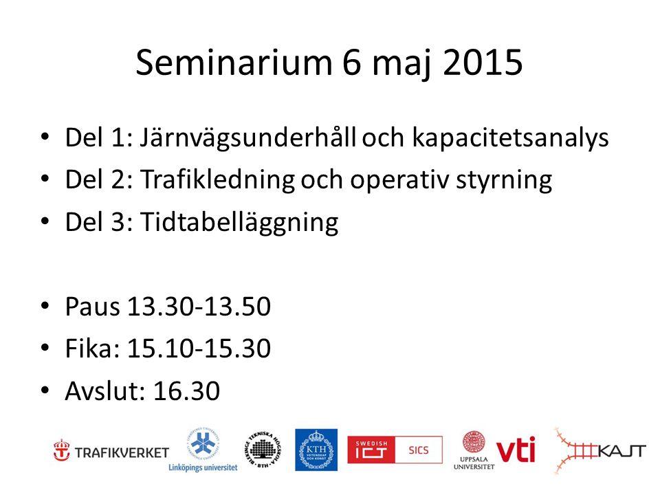 Seminarium 6 maj 2015 Del 1: Järnvägsunderhåll och kapacitetsanalys Del 2: Trafikledning och operativ styrning Del 3: Tidtabelläggning Paus 13.30-13.50 Fika: 15.10-15.30 Avslut: 16.30
