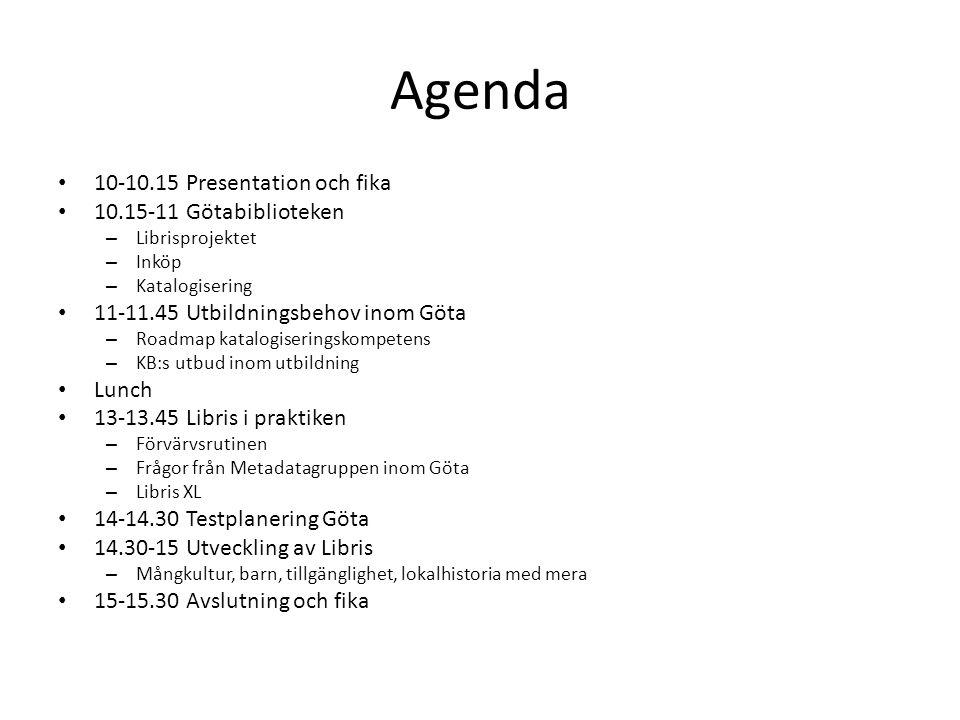 Agenda 10-10.15 Presentation och fika 10.15-11 Götabiblioteken – Librisprojektet – Inköp – Katalogisering 11-11.45 Utbildningsbehov inom Göta – Roadma