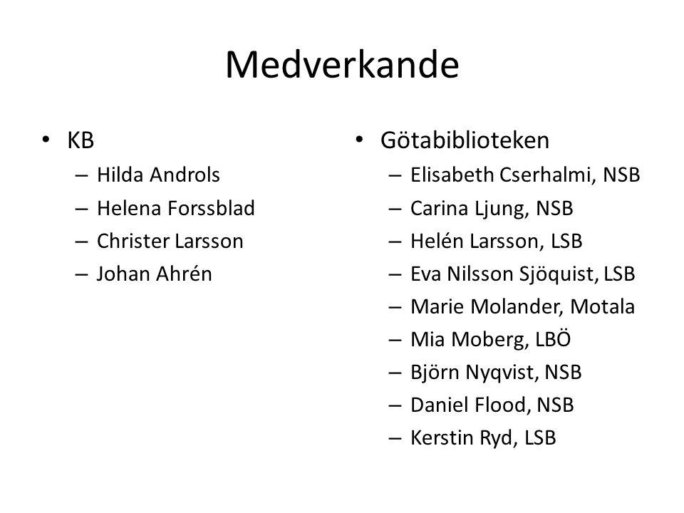 Medverkande KB – Hilda Androls – Helena Forssblad – Christer Larsson – Johan Ahrén Götabiblioteken – Elisabeth Cserhalmi, NSB – Carina Ljung, NSB – He