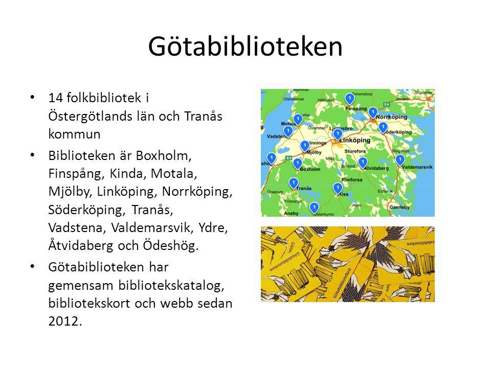 Götabiblioteken 14 folkbibliotek i Östergötlands län och Tranås kommun Biblioteken är Boxholm, Finspång, Kinda, Motala, Mjölby, Linköping, Norrköping,