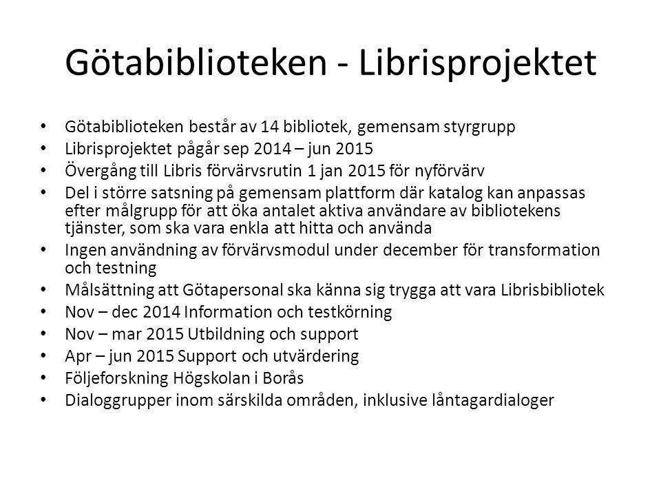 Götabiblioteken - Librisprojektet Götabiblioteken består av 14 bibliotek, gemensam styrgrupp Librisprojektet pågår sep 2014 – jun 2015 Övergång till L