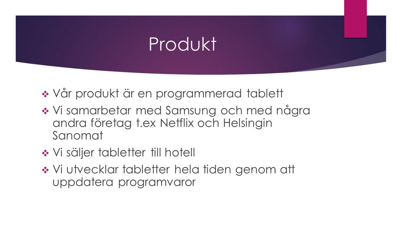 Produkt  Vår produkt är en programmerad tablett  Vi samarbetar med Samsung och med några andra företag t.ex Netflix och Helsingin Sanomat  Vi säljer tabletter till hotell  Vi utvecklar tabletter hela tiden genom att uppdatera programvaror