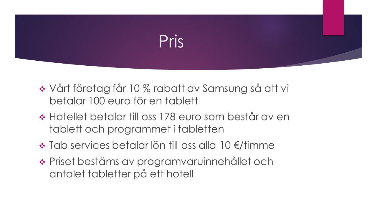 Pris  Vårt företag får 10 % rabatt av Samsung så att vi betalar 100 euro för en tablett  Hotellet betalar till oss 178 euro som består av en tablett och programmet i tabletten  Tab services betalar lön till oss alla 10 €/timme  Priset bestäms av programvaruinnehållet och antalet tabletter på ett hotell