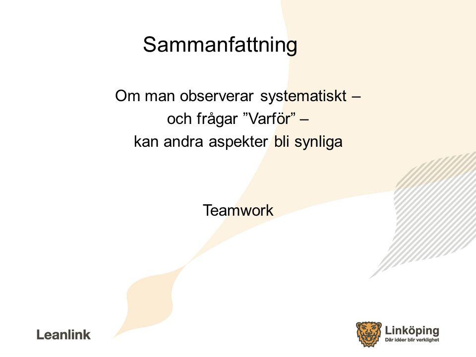"""Sammanfattning Om man observerar systematiskt – och frågar """"Varför"""" – kan andra aspekter bli synliga Teamwork"""