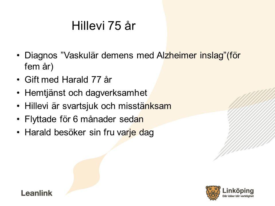 """Hillevi 75 år Diagnos """"Vaskulär demens med Alzheimer inslag""""(för fem år) Gift med Harald 77 år Hemtjänst och dagverksamhet Hillevi är svartsjuk och mi"""
