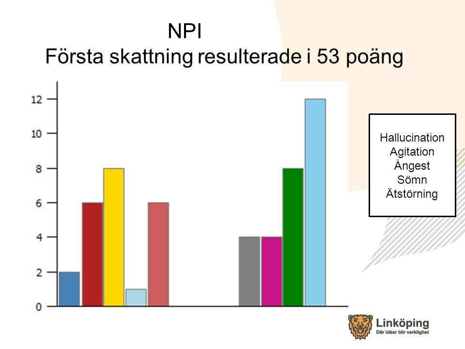 NPI Första skattning resulterade i 53 poäng Hallucination Agitation Ångest Sömn Ätstörning