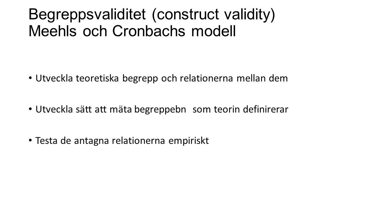 Begreppsvaliditet (construct validity) Meehls och Cronbachs modell Utveckla teoretiska begrepp och relationerna mellan dem Utveckla sätt att mäta begreppebn som teorin definirerar Testa de antagna relationerna empiriskt