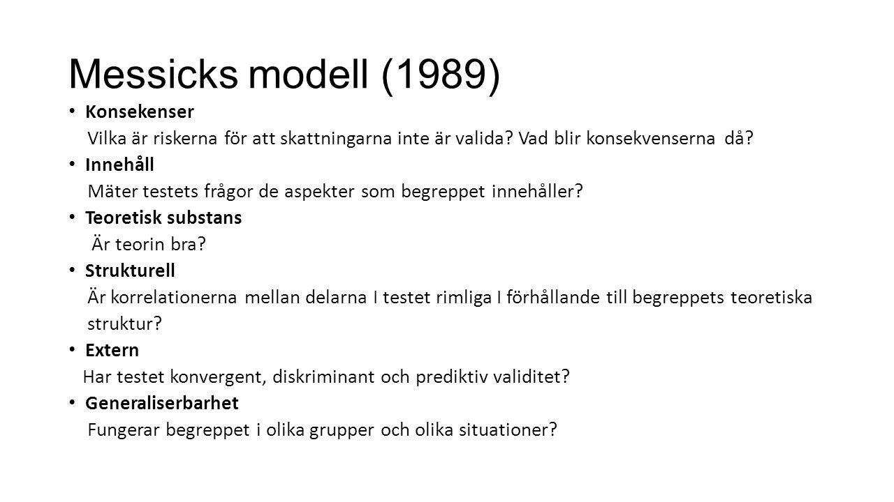 Messicks modell (1989) Konsekenser Vilka är riskerna för att skattningarna inte är valida? Vad blir konsekvenserna då? Innehåll Mäter testets frågor d