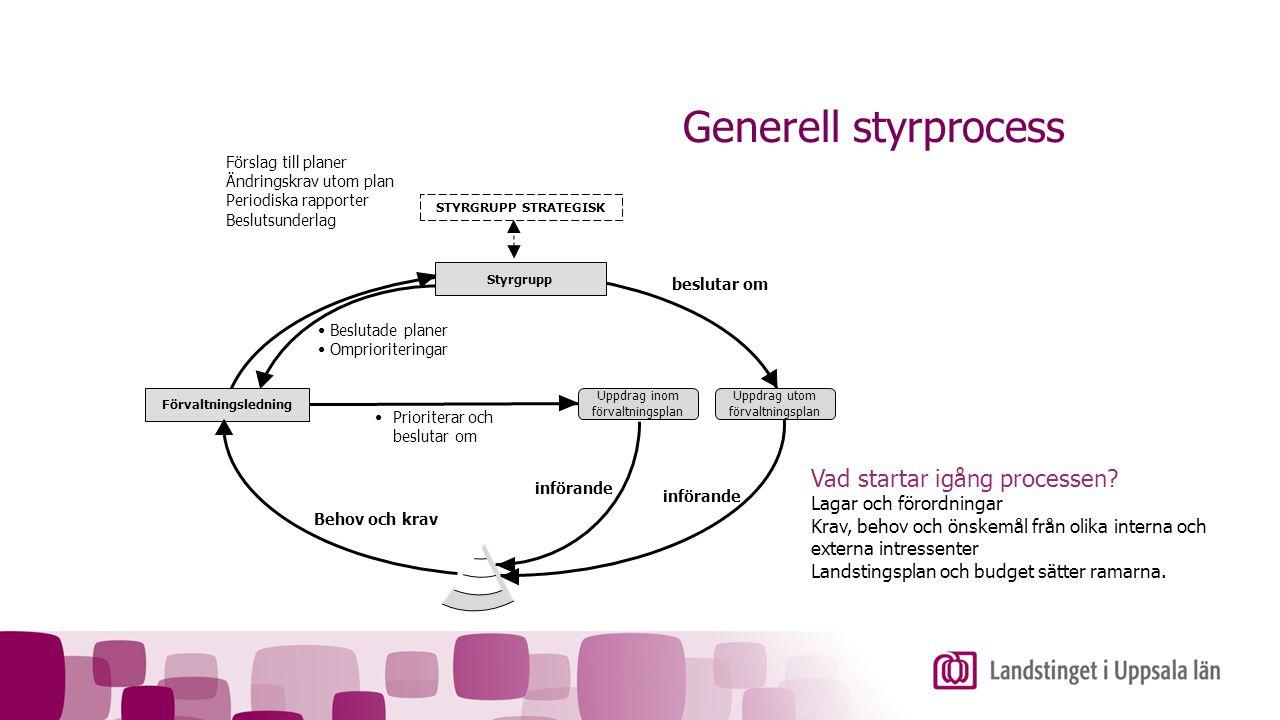Förvaltningsledning Styrgrupp STYRGRUPP STRATEGISK Uppdrag inom förvaltningsplan Uppdrag utom förvaltningsplan Beslutade planer Omprioriteringar Försl