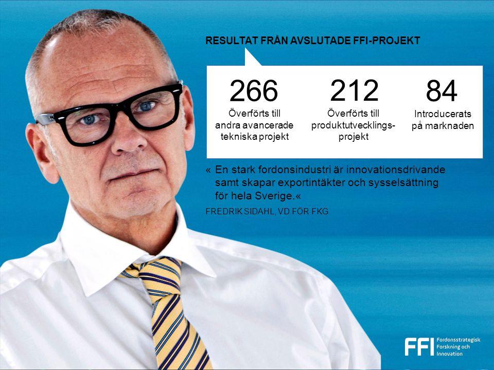 212 84 «En stark fordonsindustri är innovationsdrivande samt skapar exportintäkter och sysselsättning för hela Sverige.« FREDRIK SIDAHL, VD FÖR FKG RESULTAT FRÅN AVSLUTADE FFI-PROJEKT Överförts till andra avancerade tekniska projekt Överförts till produktutvecklings- projekt Introducerats på marknaden 266
