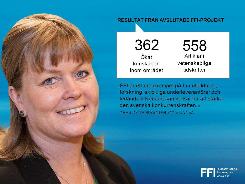 362 558 Artiklar i vetenskapliga tidskrifter « FFI är ett bra exempel på hur utbildning, forskning, skickliga underleverantörer och ledande tillverkare samverkar för att stärka den svenska konkurrenskraften.« CHARLOTTE BROGREN, GD VINNOVA RESULTAT FRÅN AVSLUTADE FFI-PROJEKT Ökat kunskapen inom området