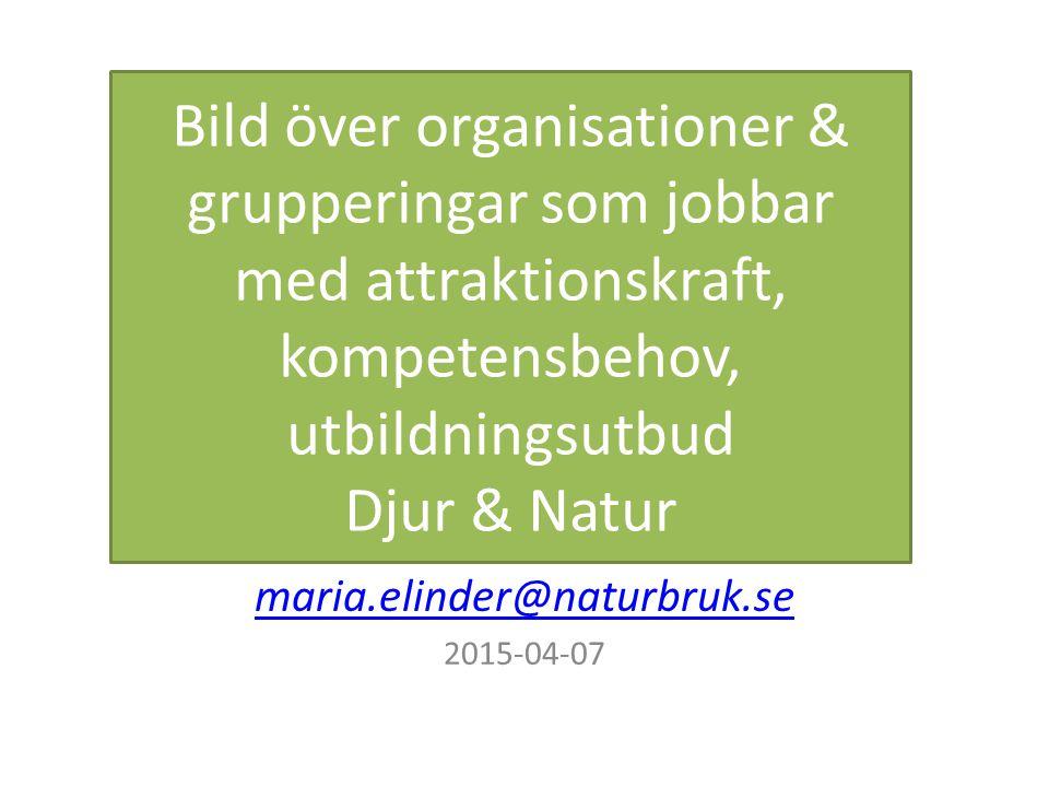 Bild över organisationer & grupperingar som jobbar med attraktionskraft, kompetensbehov, utbildningsutbud Djur & Natur maria.elinder@naturbruk.se 2015-04-07