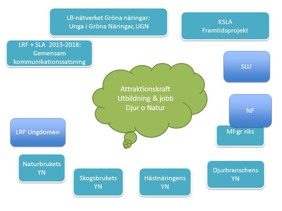 LRF + SLA 2015-2018: Gemensam kommunikationssatsning LRF + SLA 2015-2018: Gemensam kommunikationssatsning KSLA Framtidsprojekt KSLA Framtidsprojekt LB-nätverket Gröna näringar: Unga i Gröna Näringar, UGN LB-nätverket Gröna näringar: Unga i Gröna Näringar, UGN LRF Ungdomen Naturbrukets YN Skogsbrukets YN Hästnäringens YN Djurbranschens YN Attraktionskraft Utbildning & jobb Djur o Natur SLU Mf-gr riks NF