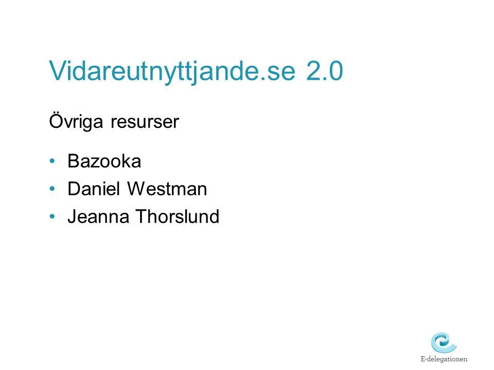 Vidareutnyttjande.se 2.0 Övriga resurser Bazooka Daniel Westman Jeanna Thorslund