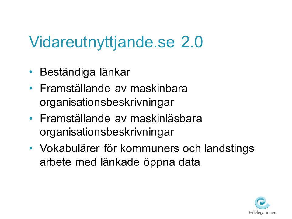 Vidareutnyttjande.se 2.0 Beständiga länkar Framställande av maskinbara organisationsbeskrivningar Framställande av maskinläsbara organisationsbeskrivningar Vokabulärer för kommuners och landstings arbete med länkade öppna data
