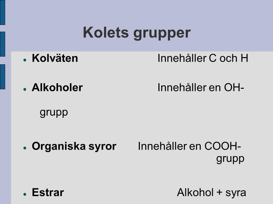 Kolets grupper KolvätenInnehåller C och H AlkoholerInnehåller en OH- grupp Organiska syrorInnehåller en COOH- grupp EstrarAlkohol + syra