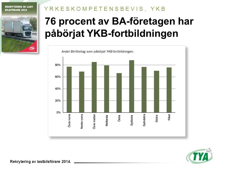 Rekrytering av lastbilsförare 2014. 76 procent av BA-företagen har påbörjat YKB-fortbildningen Y R K E S K O M P E T E N S B E V I S, Y K B