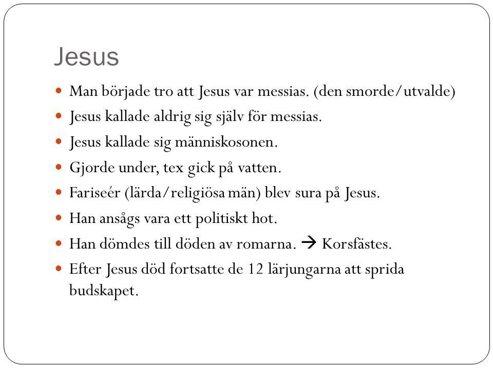 Jesus Man började tro att Jesus var messias. (den smorde/utvalde) Jesus kallade aldrig sig själv för messias. Jesus kallade sig människosonen. Gjorde