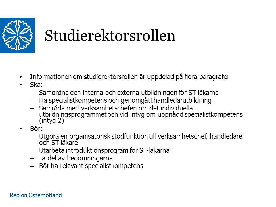 Region Östergötland Studierektorsrollen Informationen om studierektorsrollen är uppdelad på flera paragrafer Ska: – Samordna den interna och externa u