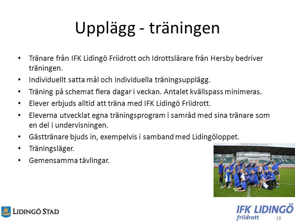 18 Upplägg - träningen Tränare från IFK Lidingö Friidrott och Idrottslärare från Hersby bedriver träningen. Individuellt satta mål och individuella tr