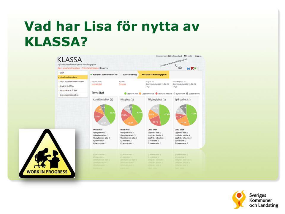 Vad har Lisa för nytta av KLASSA?