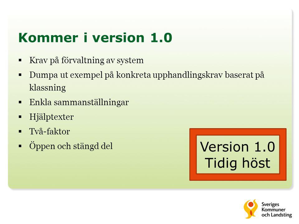 Kommer i version 1.0  Krav på förvaltning av system  Dumpa ut exempel på konkreta upphandlingskrav baserat på klassning  Enkla sammanställningar 