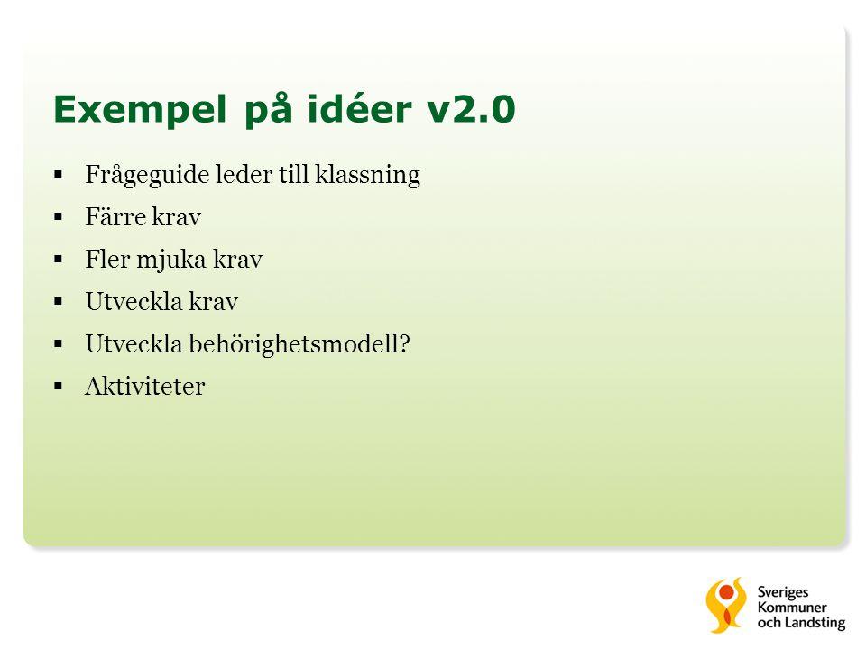 Exempel på idéer v2.0  Frågeguide leder till klassning  Färre krav  Fler mjuka krav  Utveckla krav  Utveckla behörighetsmodell?  Aktiviteter
