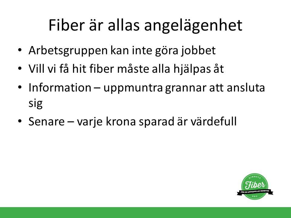 Fiber är allas angelägenhet Arbetsgruppen kan inte göra jobbet Vill vi få hit fiber måste alla hjälpas åt Information – uppmuntra grannar att ansluta