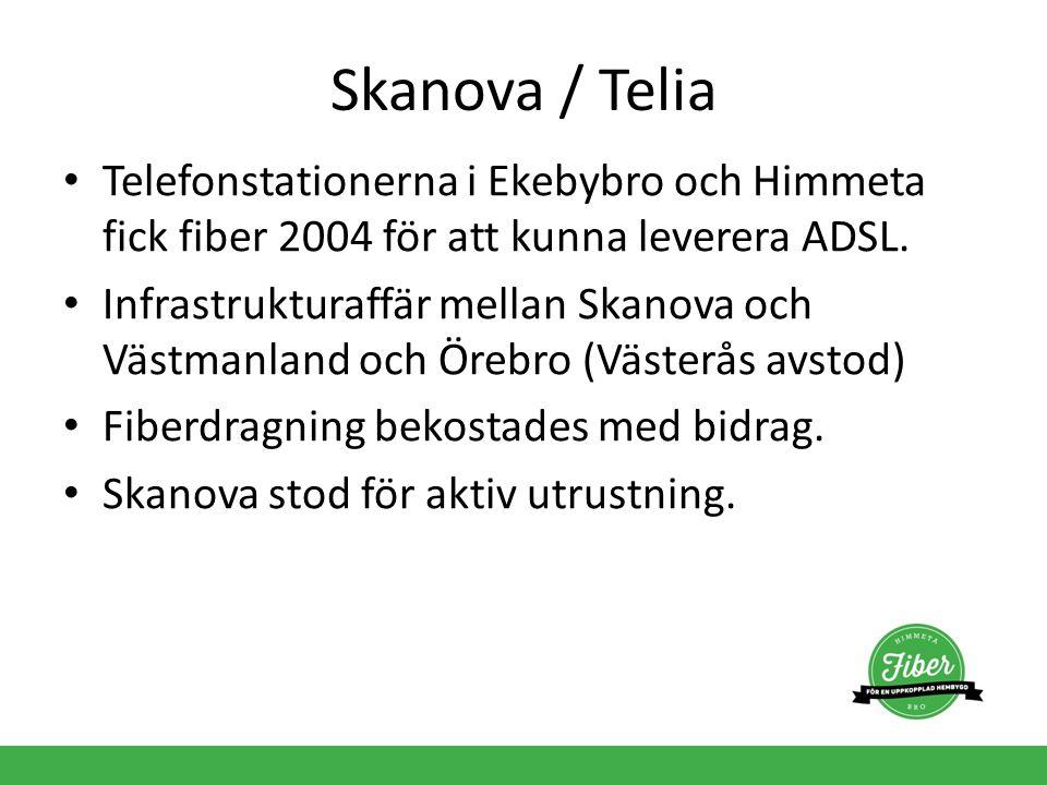 Skanova / Telia Telefonstationerna i Ekebybro och Himmeta fick fiber 2004 för att kunna leverera ADSL. Infrastrukturaffär mellan Skanova och Västmanla