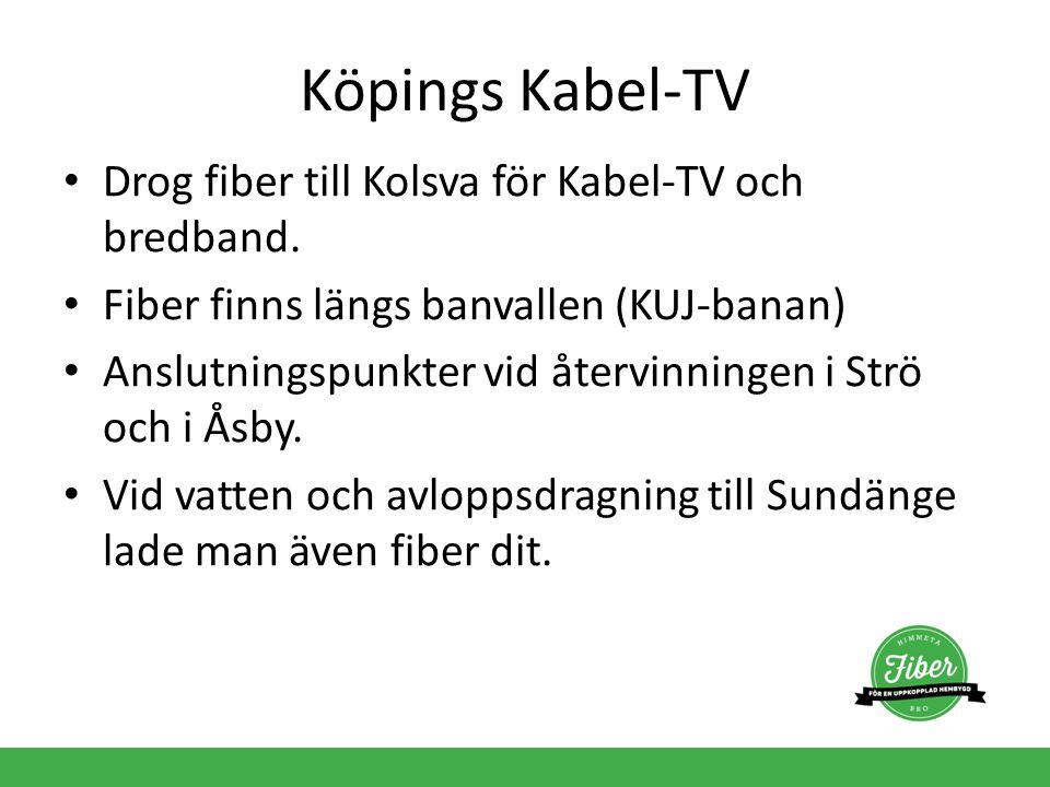 Köpings Kabel-TV Drog fiber till Kolsva för Kabel-TV och bredband. Fiber finns längs banvallen (KUJ-banan) Anslutningspunkter vid återvinningen i Strö