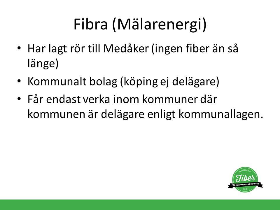 Fibra (Mälarenergi) Har lagt rör till Medåker (ingen fiber än så länge) Kommunalt bolag (köping ej delägare) Får endast verka inom kommuner där kommun