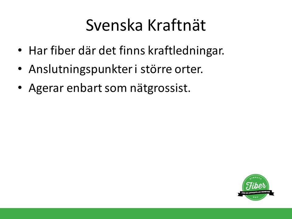 Svenska Kraftnät Har fiber där det finns kraftledningar. Anslutningspunkter i större orter. Agerar enbart som nätgrossist.
