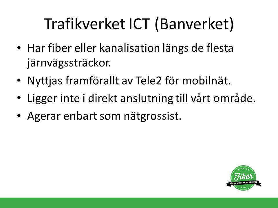 Trafikverket ICT (Banverket) Har fiber eller kanalisation längs de flesta järnvägssträckor. Nyttjas framförallt av Tele2 för mobilnät. Ligger inte i d