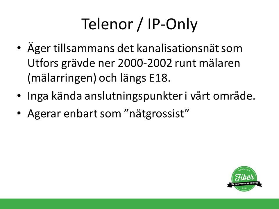 Telenor / IP-Only Äger tillsammans det kanalisationsnät som Utfors grävde ner 2000-2002 runt mälaren (mälarringen) och längs E18. Inga kända anslutnin