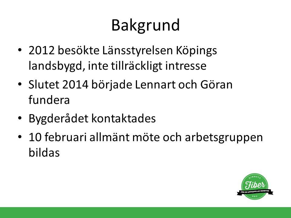 Bakgrund 2012 besökte Länsstyrelsen Köpings landsbygd, inte tillräckligt intresse Slutet 2014 började Lennart och Göran fundera Bygderådet kontaktades