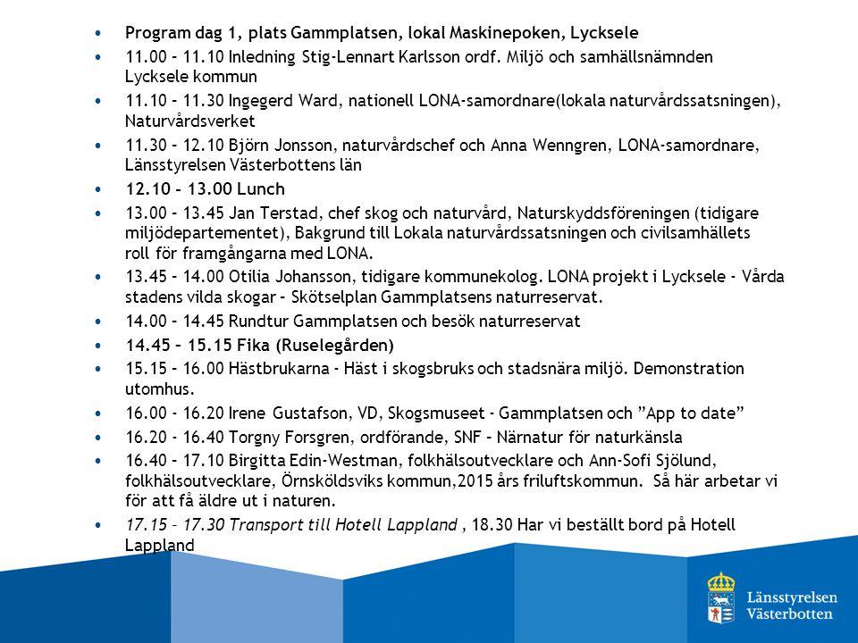 Program dag 1, plats Gammplatsen, lokal Maskinepoken, Lycksele 11.00 – 11.10 Inledning Stig-Lennart Karlsson ordf.