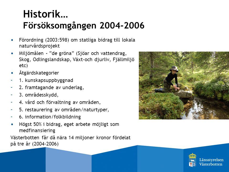 Historik… Försöksomgången 2004-2006 Förordning (2003:598) om statliga bidrag till lokala naturvårdsprojekt Miljömålen – de gröna (Sjöar och vattendrag, Skog, Odlingslandskap, Växt-och djurliv, Fjällmiljö etc) Åtgärdskategorier - 1.