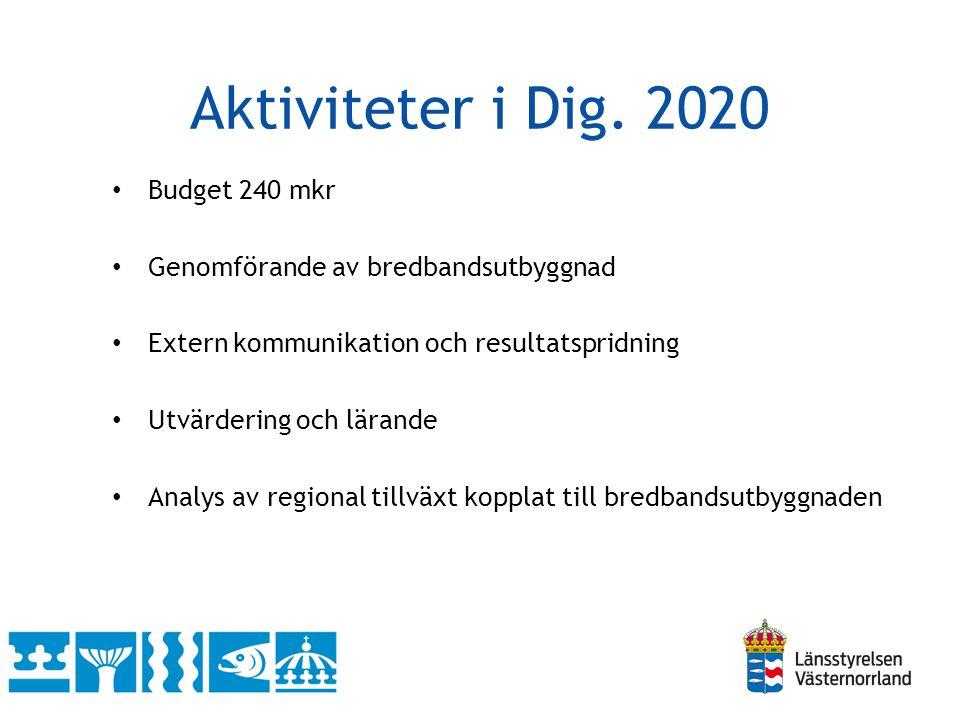 Samverkan för utbyggnad Samordnad utbyggnad genom Dig.2020, byaföreningar (landsbygdsprogrammet) och privata aktörer
