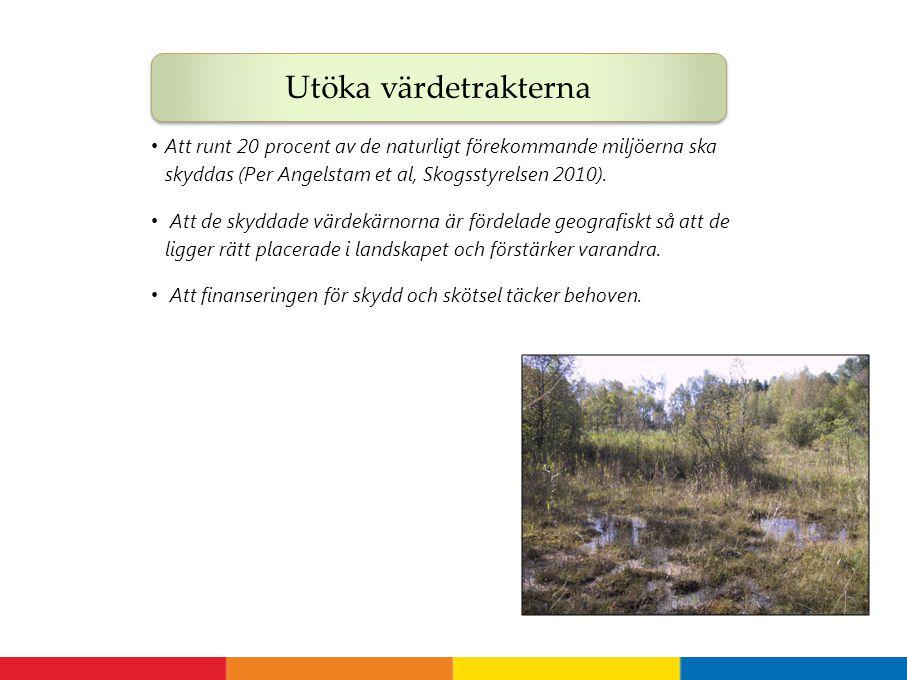 Att runt 20 procent av de naturligt förekommande miljöerna ska skyddas (Per Angelstam et al, Skogsstyrelsen 2010). Att de skyddade värdekärnorna är fö