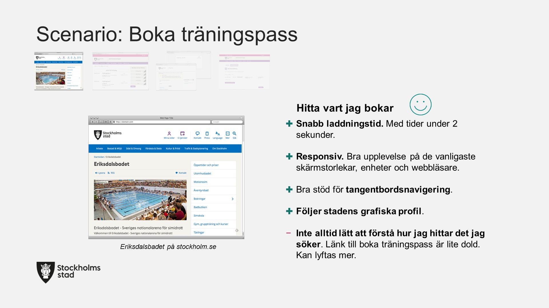 Scenario: Boka träningspass Eriksdalsbadet på stockholm.se ✚ Snabb laddningstid.