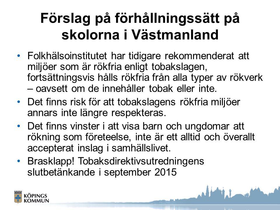 Förslag på förhållningssätt på skolorna i Västmanland Folkhälsoinstitutet har tidigare rekommenderat att miljöer som är rökfria enligt tobakslagen, fo