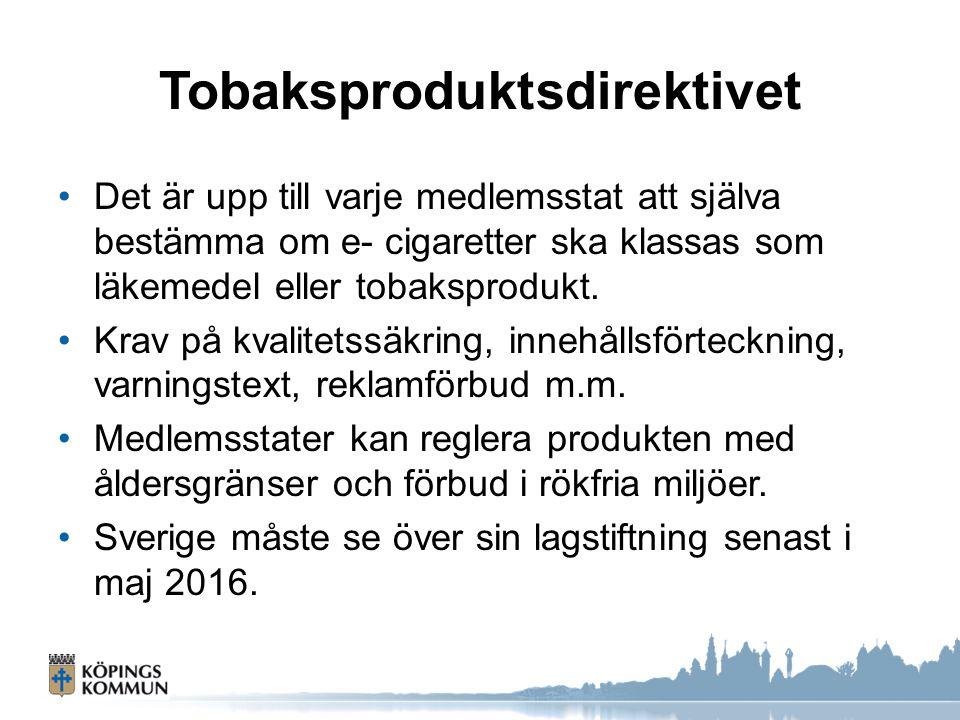 Tobaksproduktsdirektivet Det är upp till varje medlemsstat att själva bestämma om e- cigaretter ska klassas som läkemedel eller tobaksprodukt. Krav på