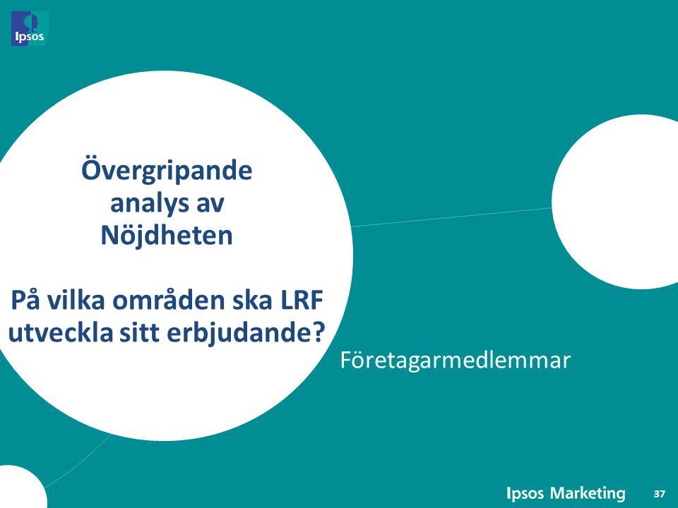 Övergripande analys av Nöjdheten På vilka områden ska LRF utveckla sitt erbjudande? Företagarmedlemmar 37