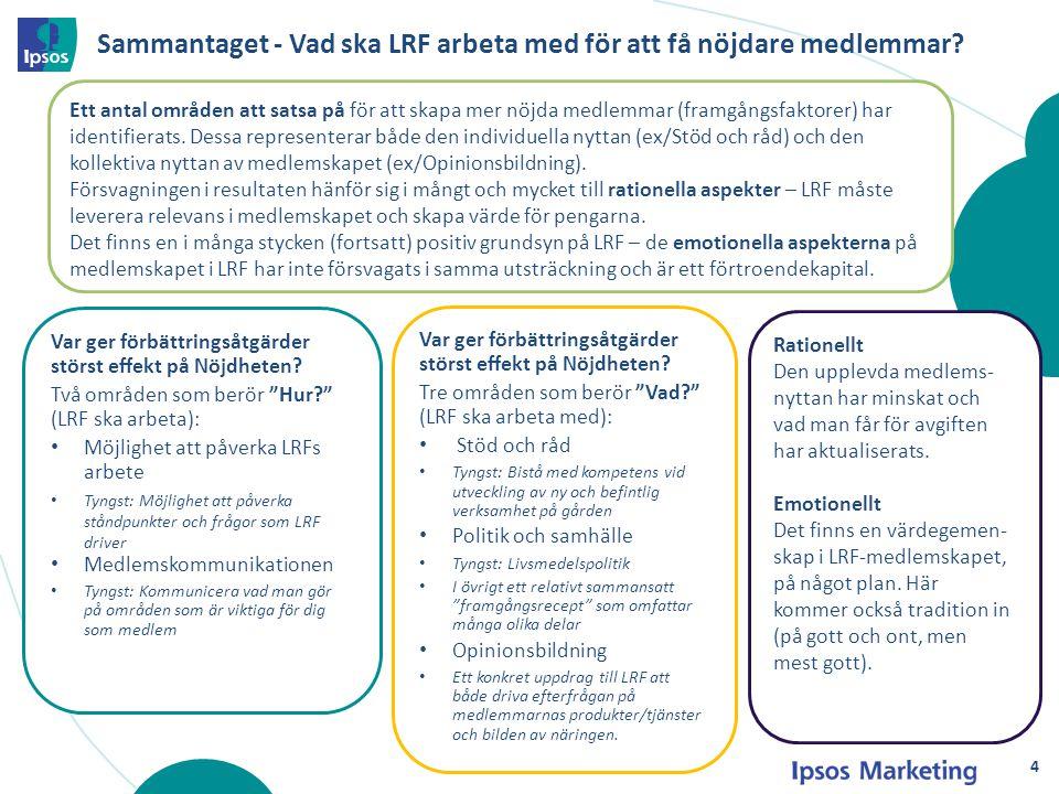 """Sammantaget - Vad ska LRF arbeta med för att få nöjdare medlemmar? Var ger förbättringsåtgärder störst effekt på Nöjdheten? Tre områden som berör """"Vad"""
