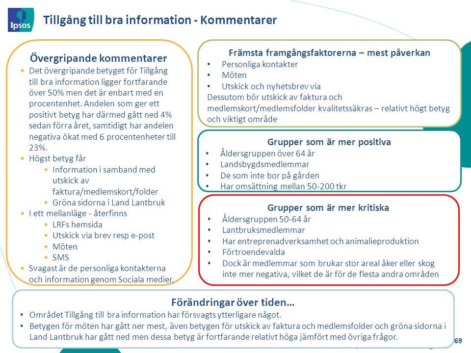Tillgång till bra information - Kommentarer Förändringar över tiden… Området Tillgång till bra information har försvagts ytterligare något. Betygen fö