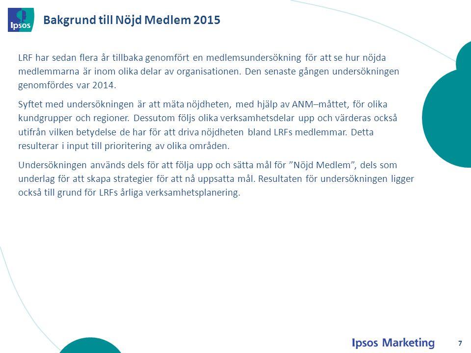 Bakgrund till Nöjd Medlem 2015 LRF har sedan flera år tillbaka genomfört en medlemsundersökning för att se hur nöjda medlemmarna är inom olika delar a
